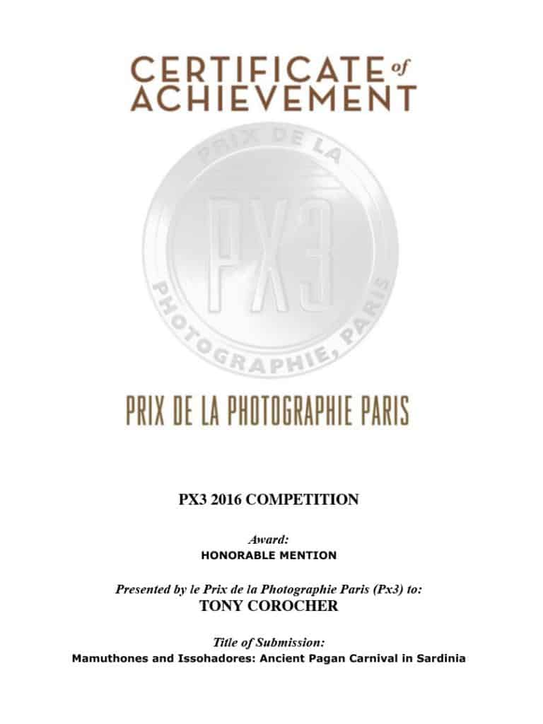 PX3 CERTIFICATE, Px3 Paris, Prix de la Photographie Paris, Tony Corocher, Awards